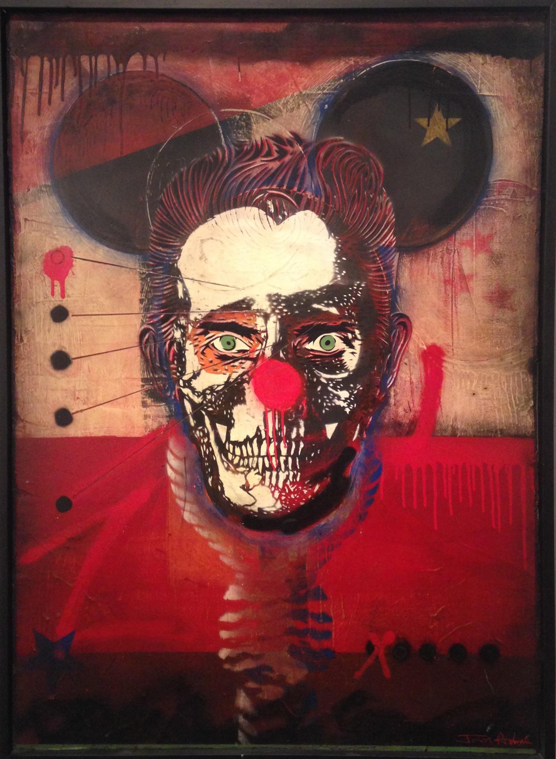 """American Dad"" 38""x53"" stencil, aerosol, latex paint on wood panel $2000"