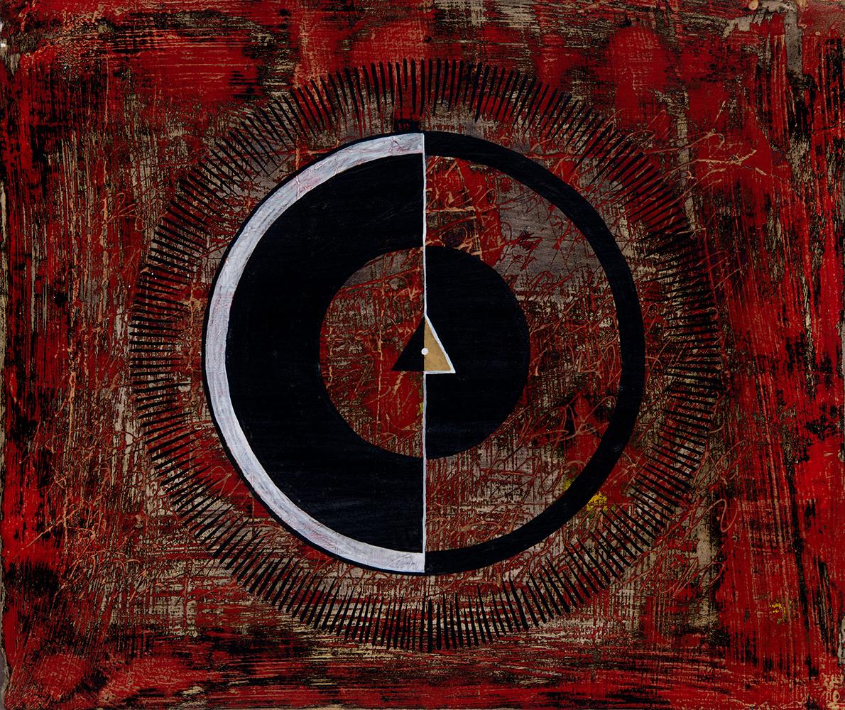 """17: Red w BW Circle  12.5x10.5""""  $400"""