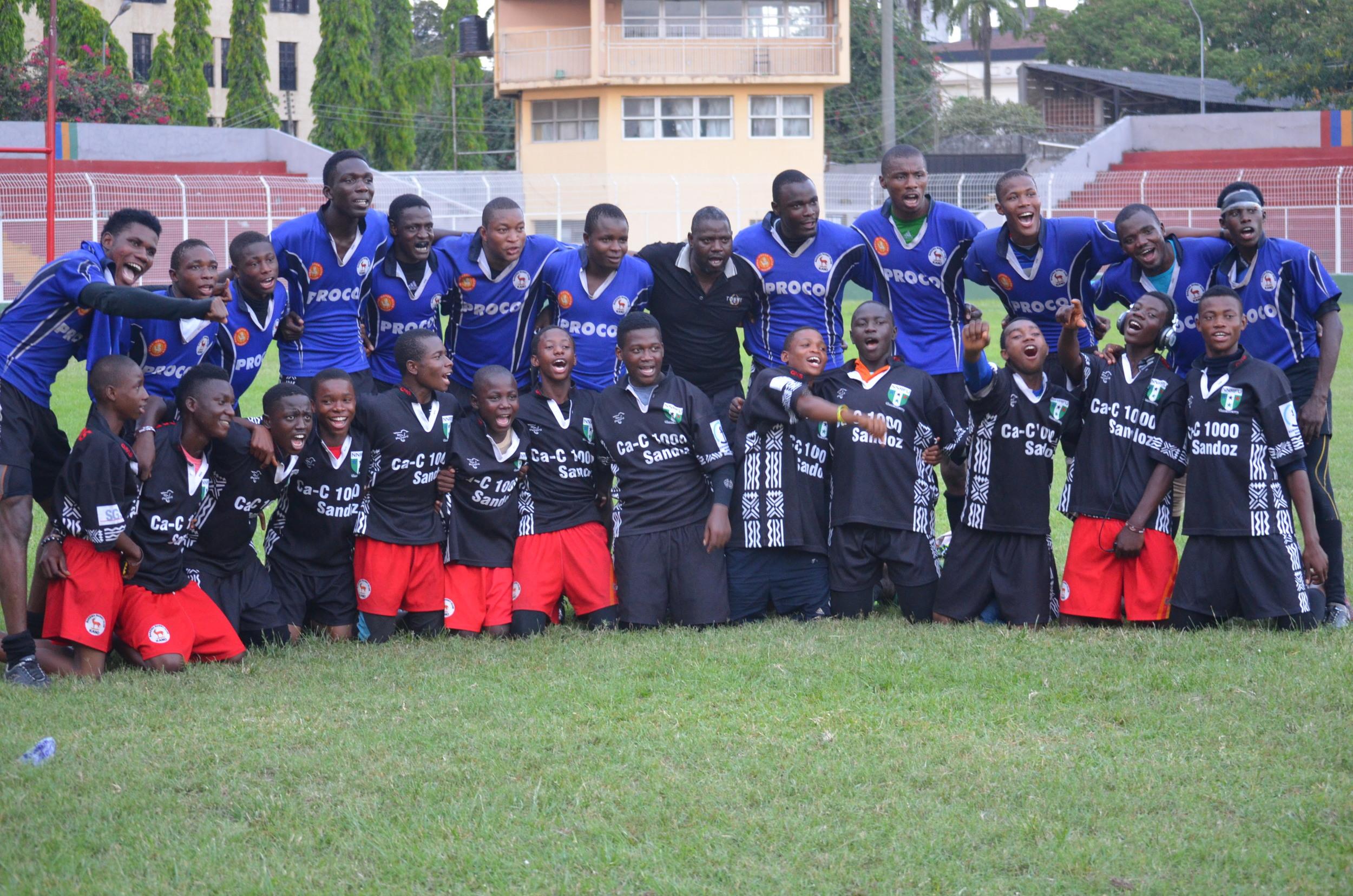 Seniors and Juniors together with Team Manager Umar d'Bau.