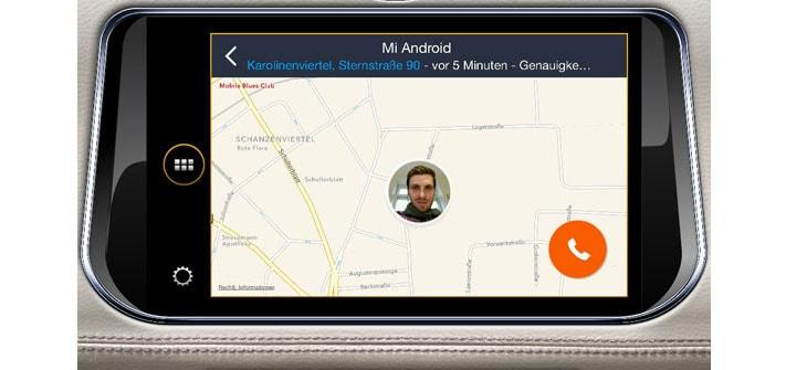 Jaguar Infotainment(mySpin) Ansicht der Familo App