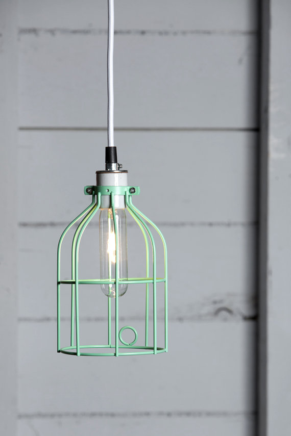 Mint Green Wire Cage Pendant