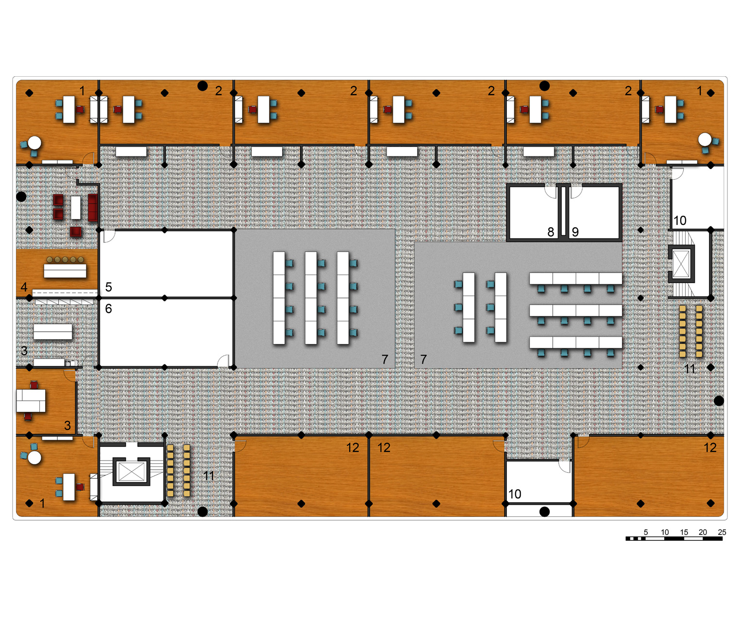 Second Level Floor Plan   1.Administrative Office   2.Dance & Music Therapy Room   3.Administrative Support   4.Break Room   5.Mens' Locker Room   6.Womens' Locker Room   7.Open Art Instruction Studio   8.Mens' Restroom   9.Womens' Restroom   10.General Storage   11.Waiting Room