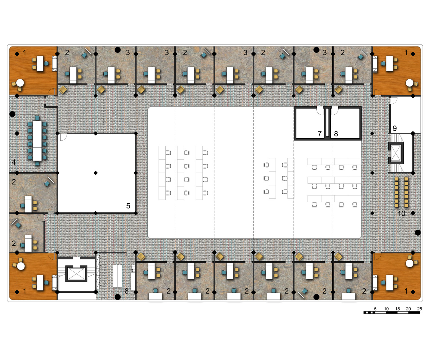 Third Level Floor Plan   1.Administrative Offices   2.Art Therapy Rooms   3.Music Therapy Rooms   4.Conference Rooms   5.Art Supply Storage   6.Copy Room   7.Men's Locker Room   8.Womens' Locker Room   9.General Storage   10.Waiting Room