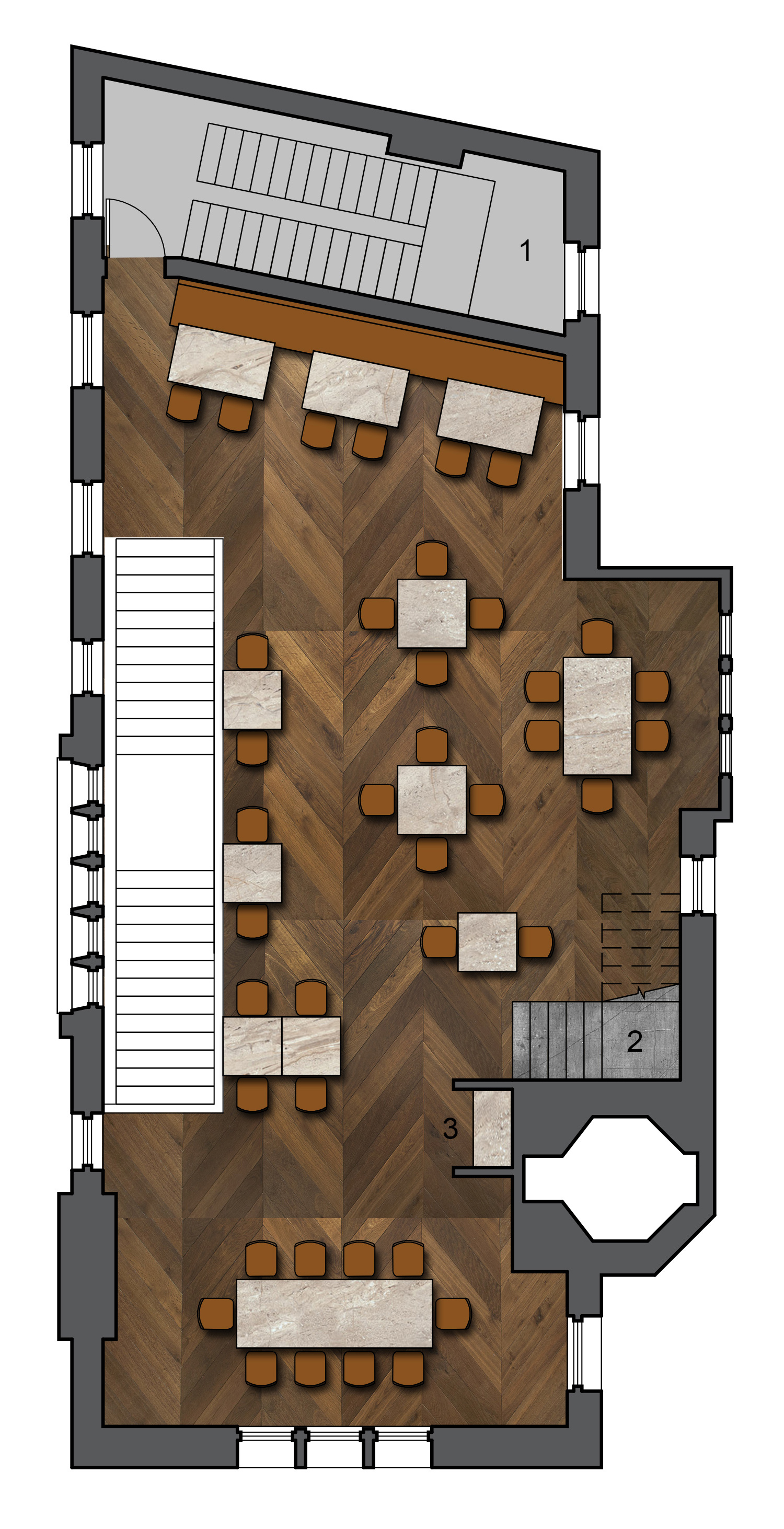 Second Level - Dining   1.Kitchen Stairs 2.Secondary Stair to Chocolate Shop 3.Transaction Stand
