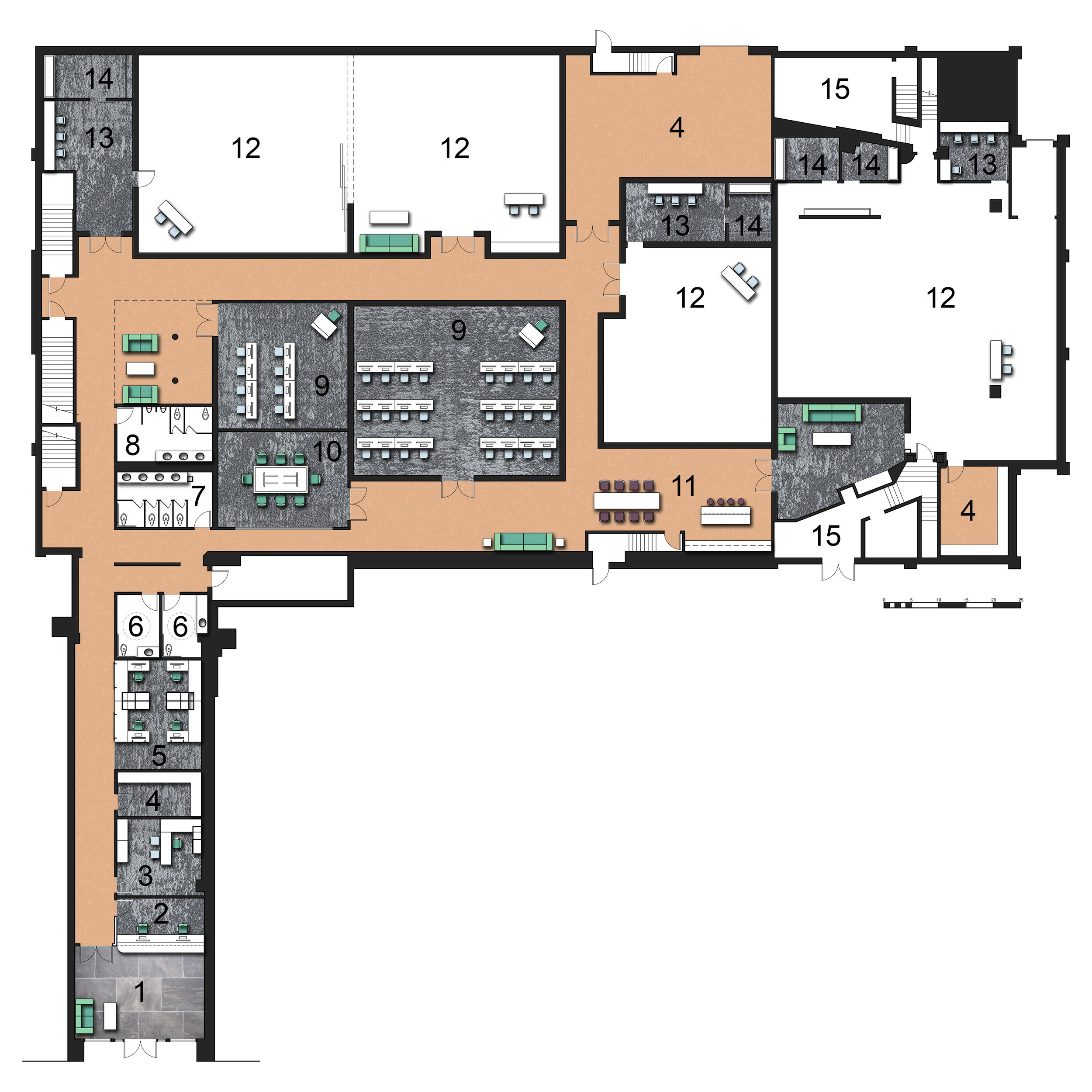Main Floor Plan   1.Main Entry & Waiting Area  2.Reception  3.Director's Office  4.Storage  5.Open Work Area  6.ADA Restrooms  7.Women's Restroom  8.Men's Restroom  9.Classroom 10.Conference Room  11.Kitchenette  12.Silent Studio  13.Hair & Makeup 14.Dressing Room  15.Utility Area