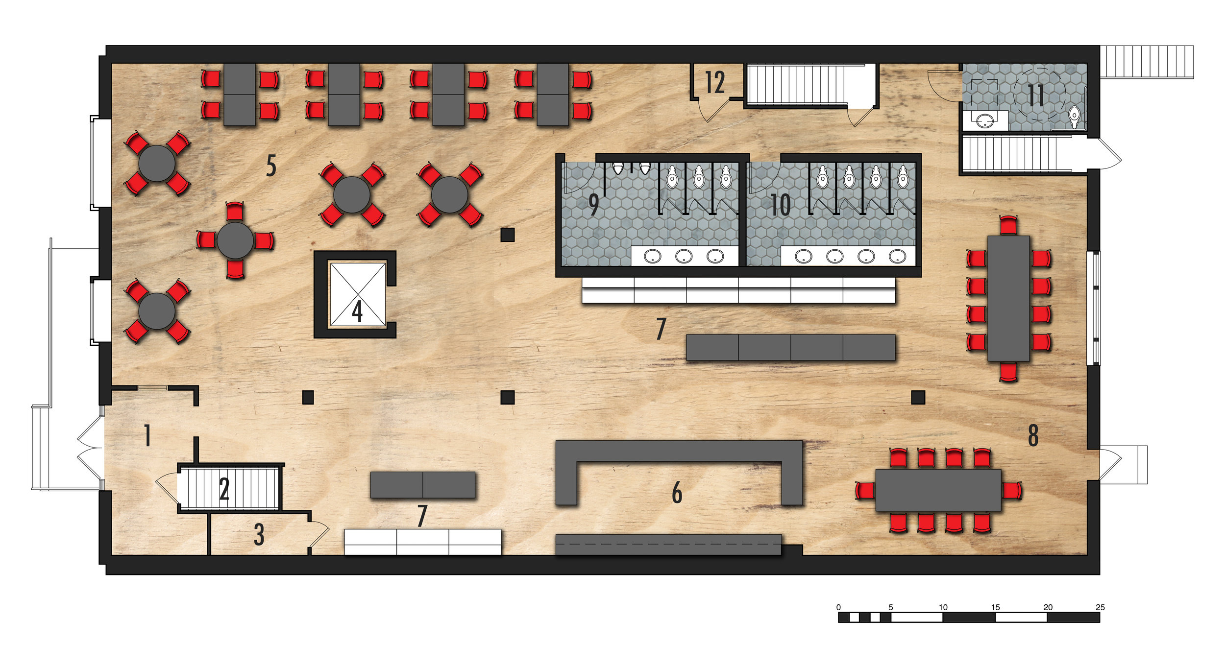 Entry Level Floor Plan   1.Entry 2.Existing Stair to Second Level 3.Storage 4.Existing Elevator5.Cafe Seating 6.Ordering and Sales Counter 7.Grocery  8.Communal Cafe Seating 9.Men's Restroom 10.Women's Restroom 11.ADA Restroom 12.Existing HVAC