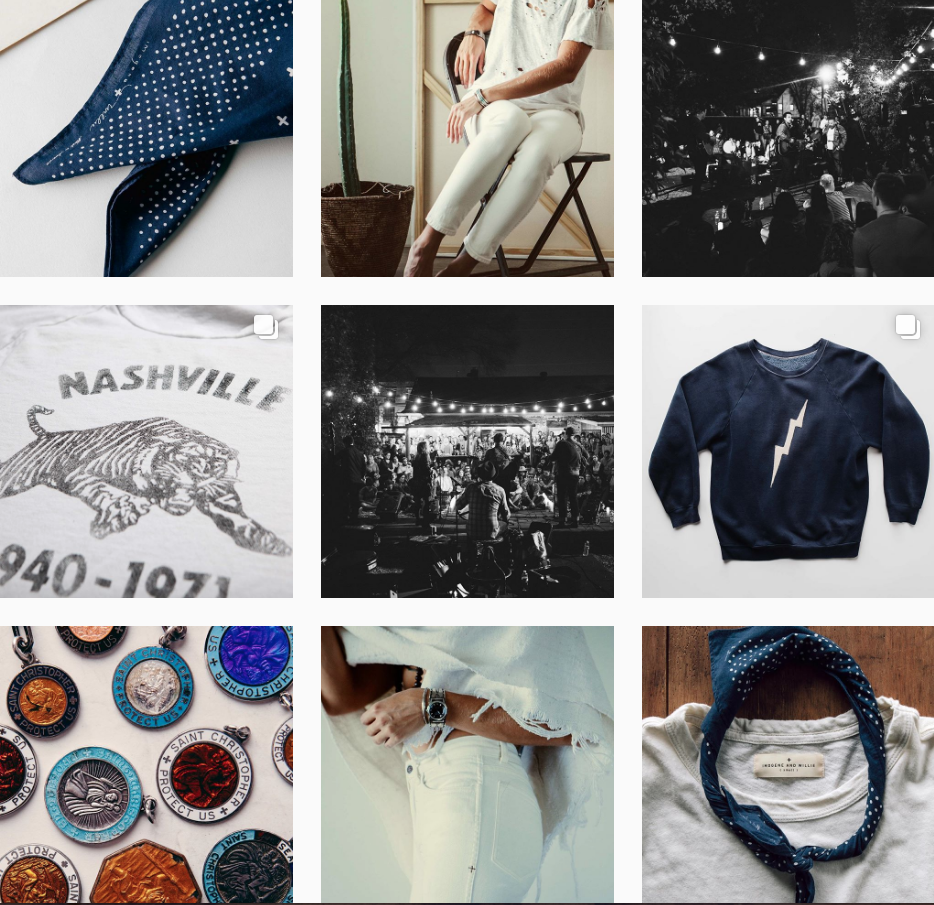 @imogeneandwillie - If you want the blues, but in a good way—check out Imogene and Willie. Mostly achromatic with denim blue accents (how appropriate!), you immediately get a vibe about their brand story. Next time I go to Nashville, I desperately want to visit their flagship store.