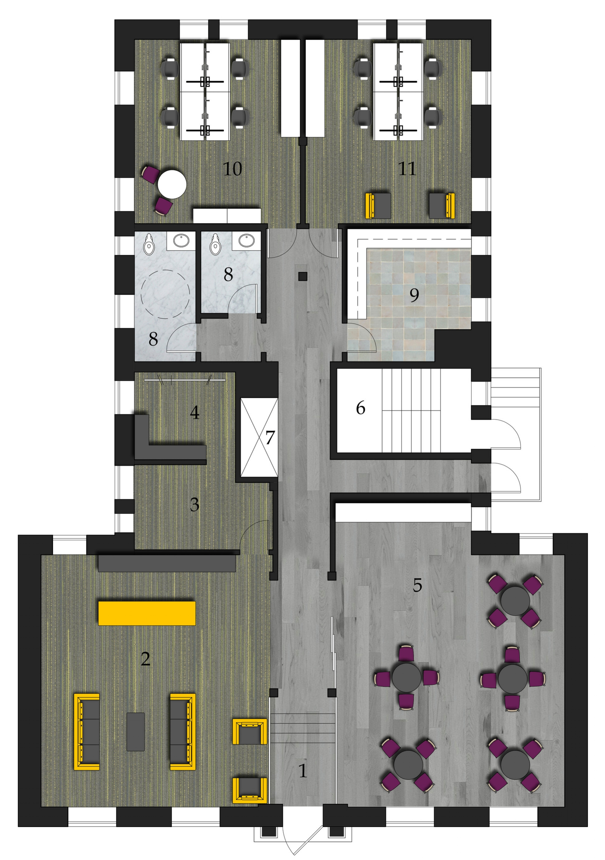 Ground Floor Plan   1.Entry 2.Reception 3.Luggage Storage4.Employee Locker Room 5.Breakfast Room and Casual Meeting Space 6.Emergency Stairs 7.Elevator 8.Restrooms 9.Kitchen 10.Hotel Office 11. Technology Center