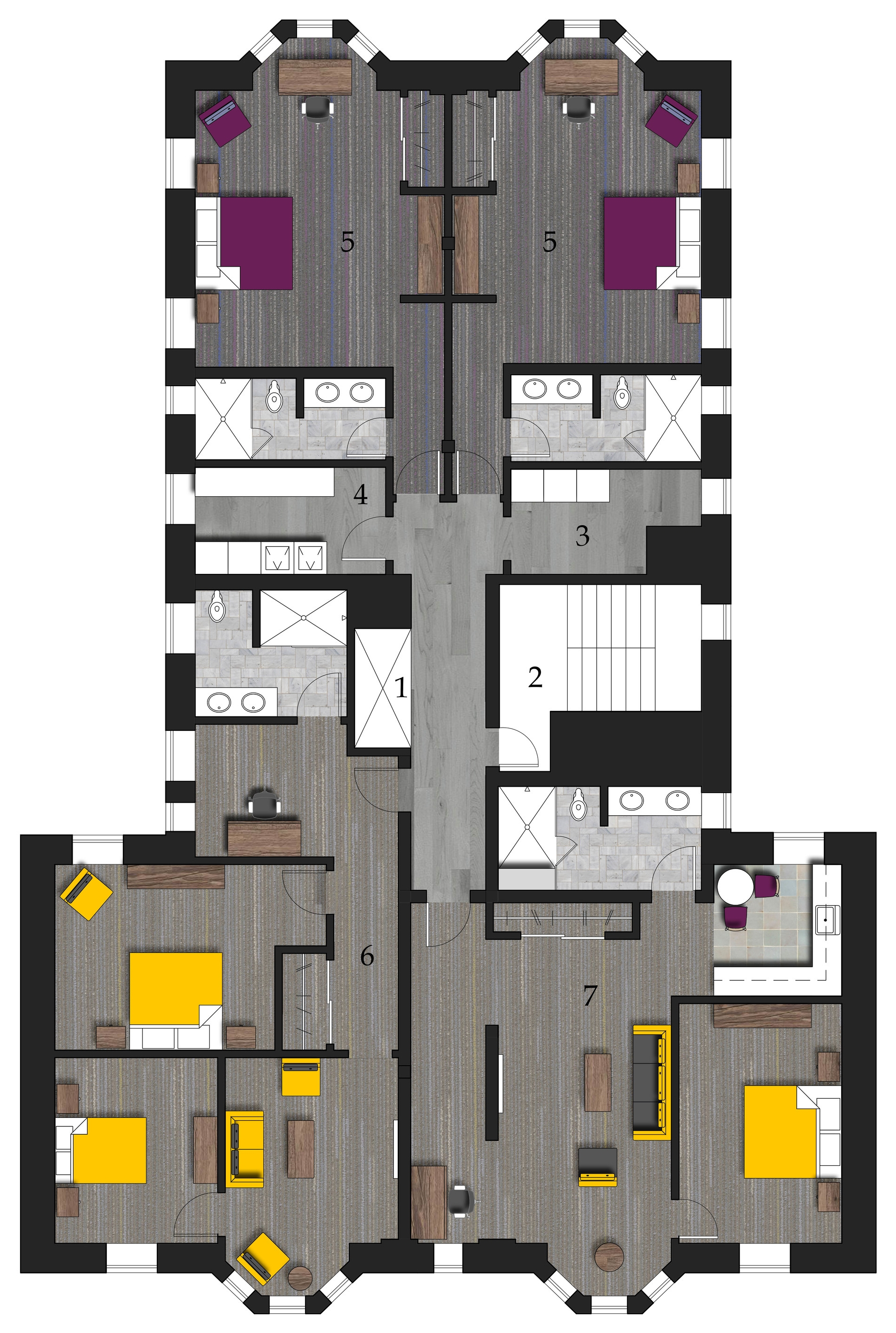 Typical Guest Floor Plan   1.Elevator 2.Emergency Stairs 3.Vending & Ice4.Laundry & Storage 5.Standard Guest Room 6.Multi-Guest Room 7.Deluxe Suite and Extended Stay