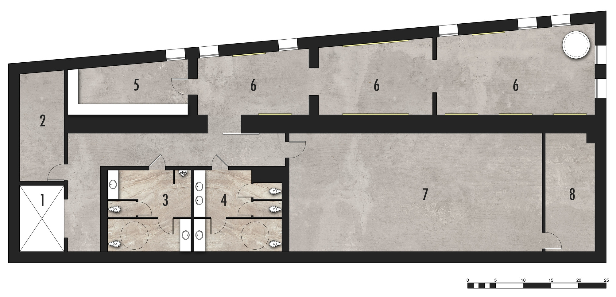 Lower Level Plan   1.Elevator   2.Fire Stair   3.Mens' Restroom   4.Womens' Restroom   5.Storage   6.Galleries   7.Private Artwork Storage   8.Mechanical Room