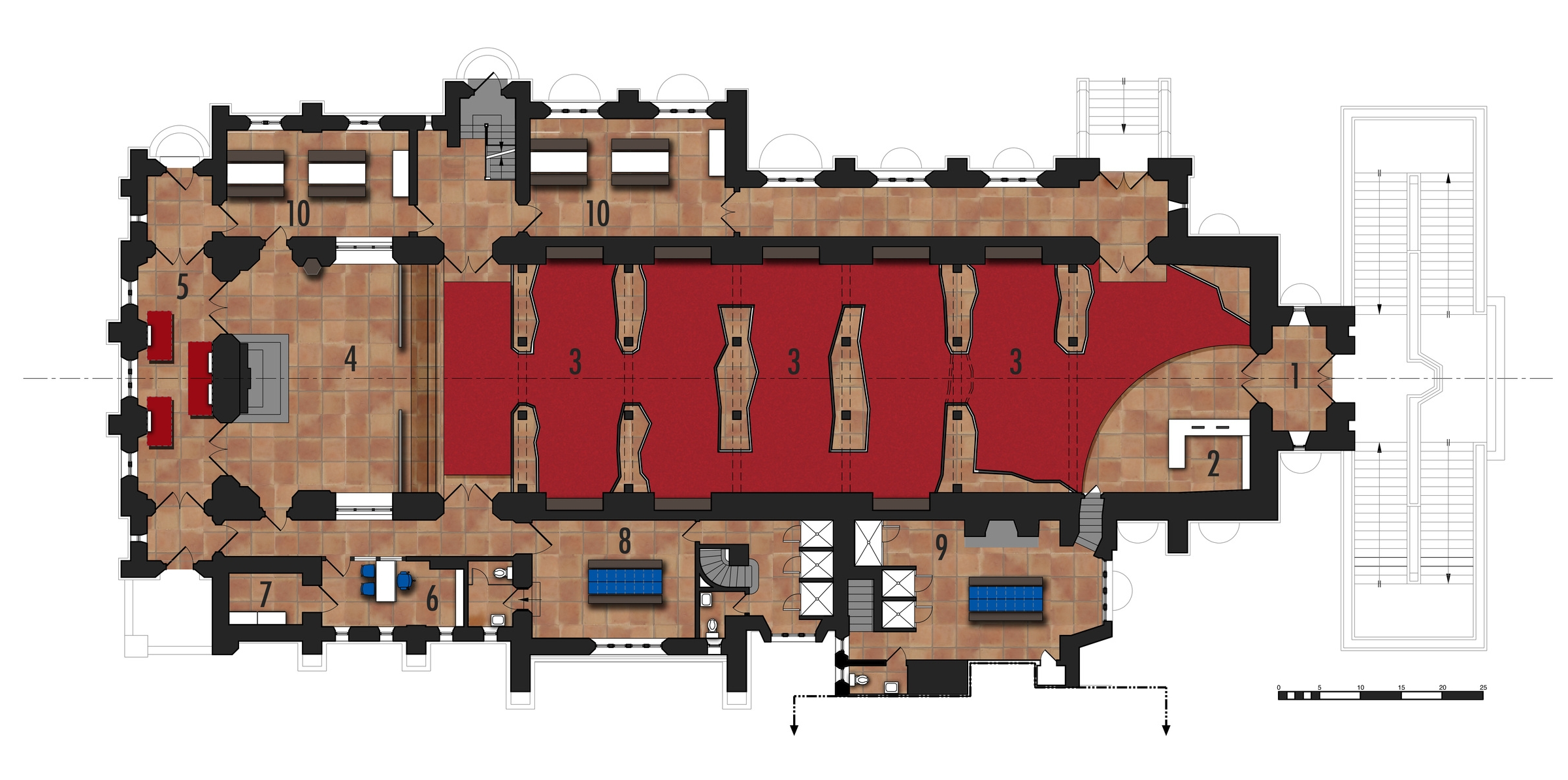 Main Floor Plan   1.Vestibule 2.Front Desk  3.Climbing Area   4.Altar 5.Conditioning Room 6.Office   7.Storage   8.Women's Locker Room  9.Men's Locker Room  10.Party and Product Demo Room