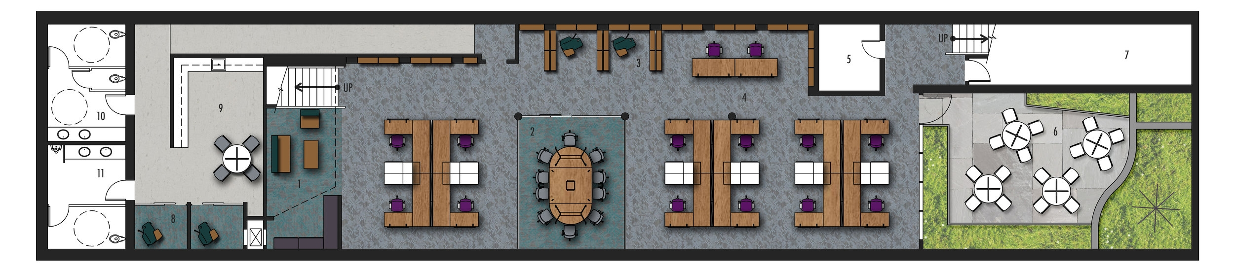 Lower Level Floor Plan   1.Seating & Filing Print Area 2.Conference Room 3.Seating Alcove 4.Open Workspace 5.Storage 6.Courtyard 7.Mechanical Room 8.Soundproof Room 9.Kitchen 10.Womens' Restroom 11.Mens' Restroom