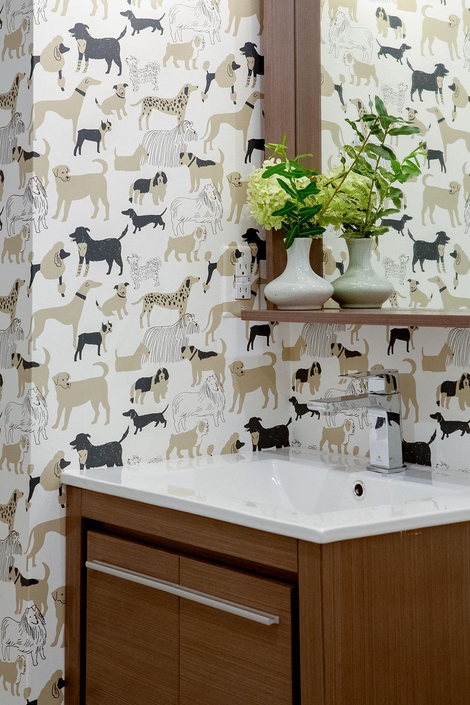 Wallpaper in Powder Room