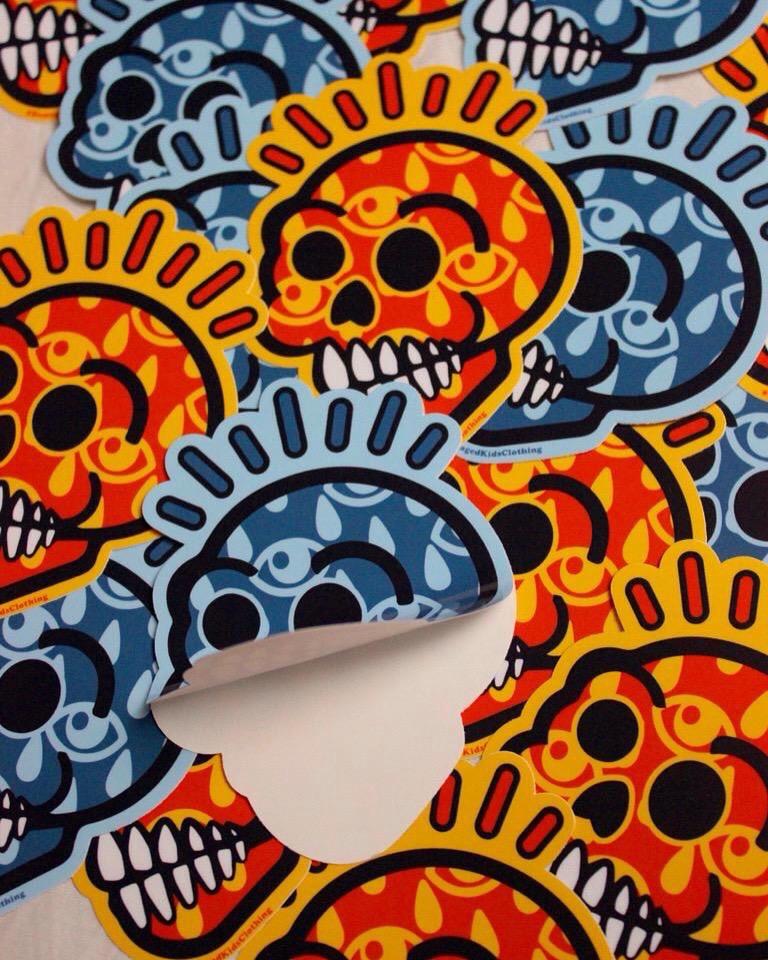 Damaged Kids Stoked Skull Sticker Shot