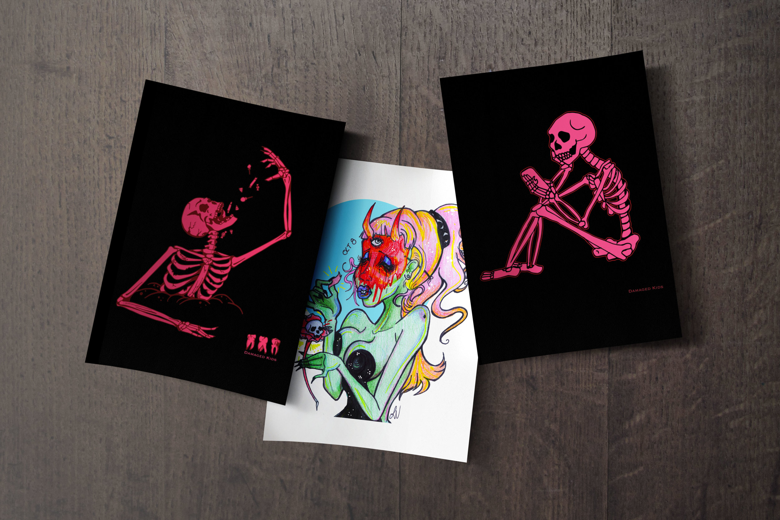 Damaged Kids Art Prints $12   Some exclusive prints specifically for the DK re-release as well as ALL apparel designs.   Click the picture above to be brought to the Threadless store for ordering.