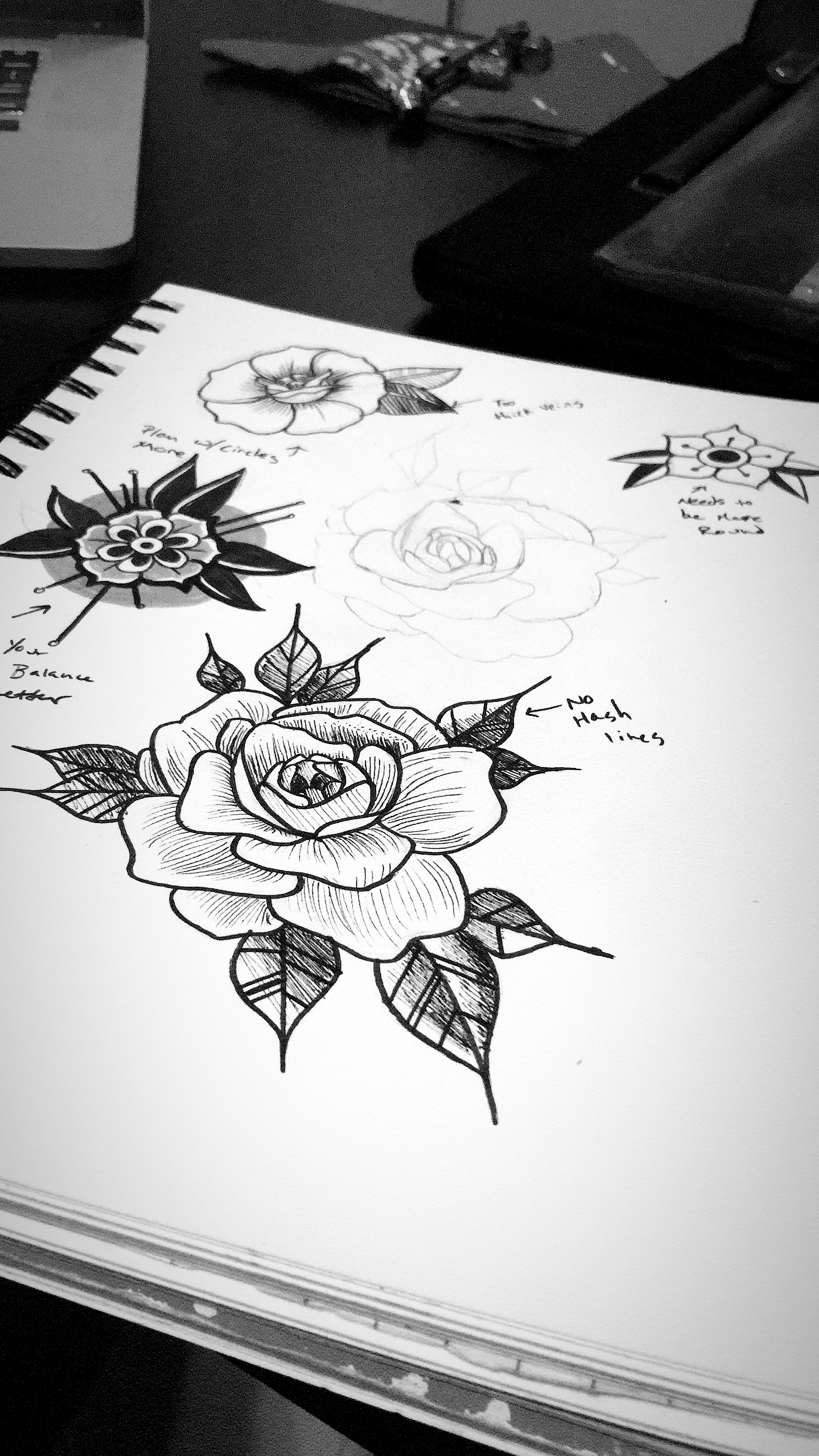 Practicing Tattoo Flash because I want to be a Tattoo Artists one day.