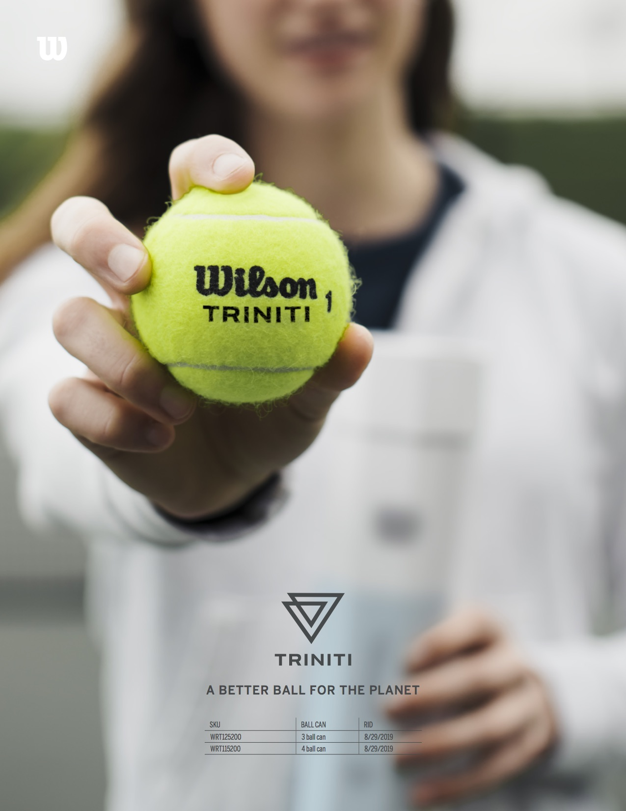 Sell Sheet for a new Wilson tennis ball. Photography by Nicole Gazzano, Product Logo done by me.