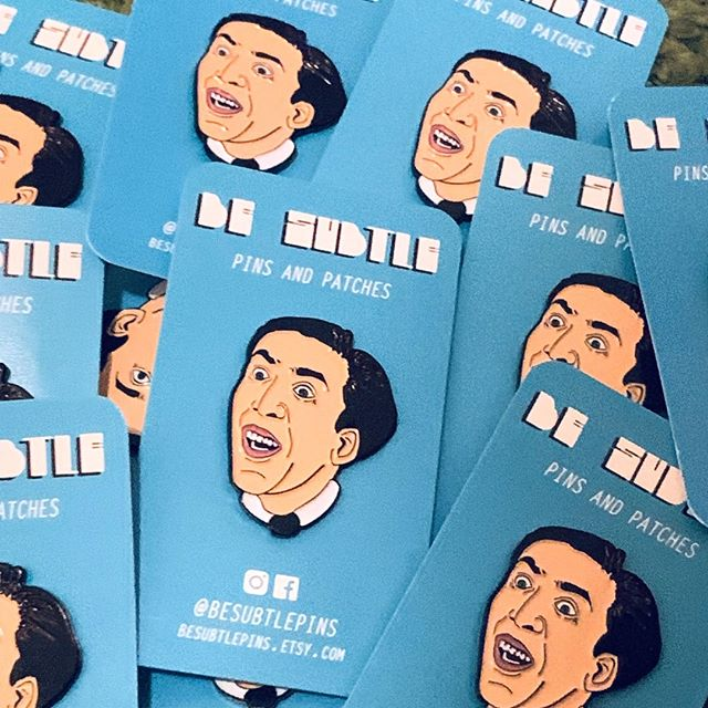 So which Nic Cage movie is your fav? Mine is definitely Face Off....and I just recently learned his favorite movie was Vampires Kiss, which tickles me. ⠀⠀ .⠀⠀ #etsy #nicolascage #actor #designer #movies #accessory #jewelry #fanart #enamelpins #popculture #hollywood #pingame #pinsofig #scream #celebrity #meme #illustration #wearableart #art #etsy | #smallbusiness #etsymaker #pinsofinstagram #pins #heart #wildatheart #film #valentines #truelove #cagerage