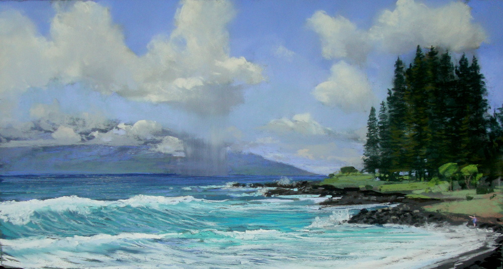 View of the Big Island from Hamoa Beach