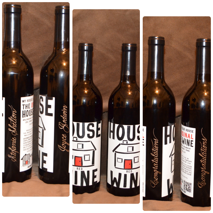 Personalized house warming gift in the form of wine.  Ingenious!