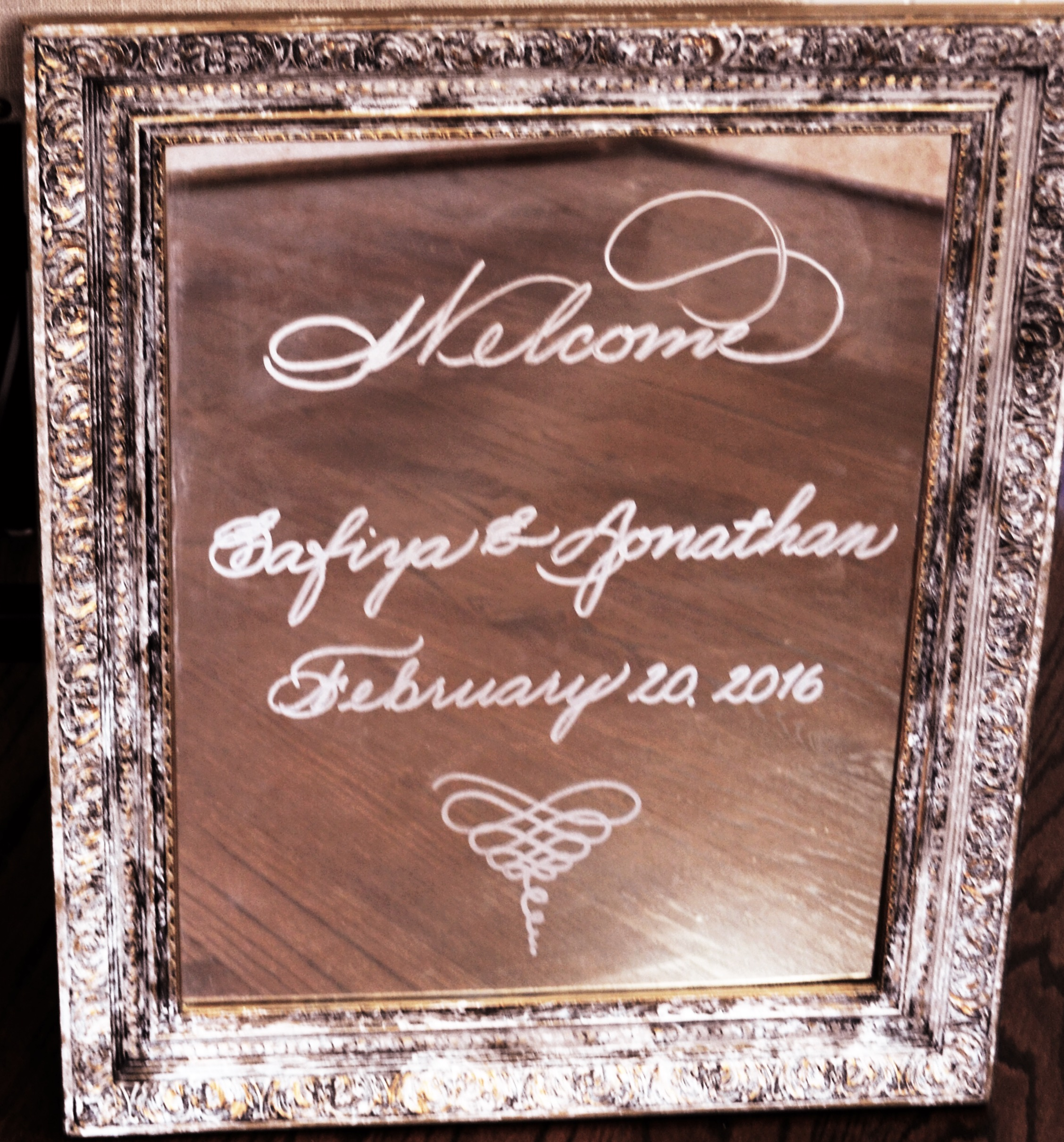 Houston Calligraphy Wedding Welcome Mirror.JPG