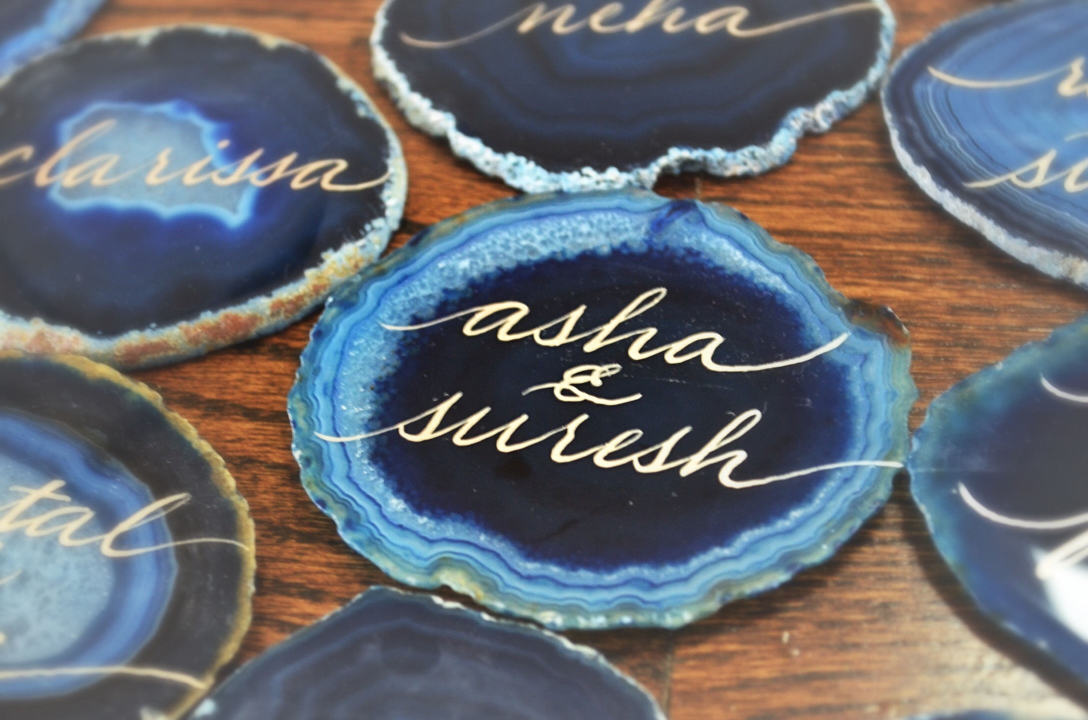 Blue Agate Stone Agate Stone Hand Lettering Calligraphy Escort Place Cards Houston Los Angeles New York Miami.JPG
