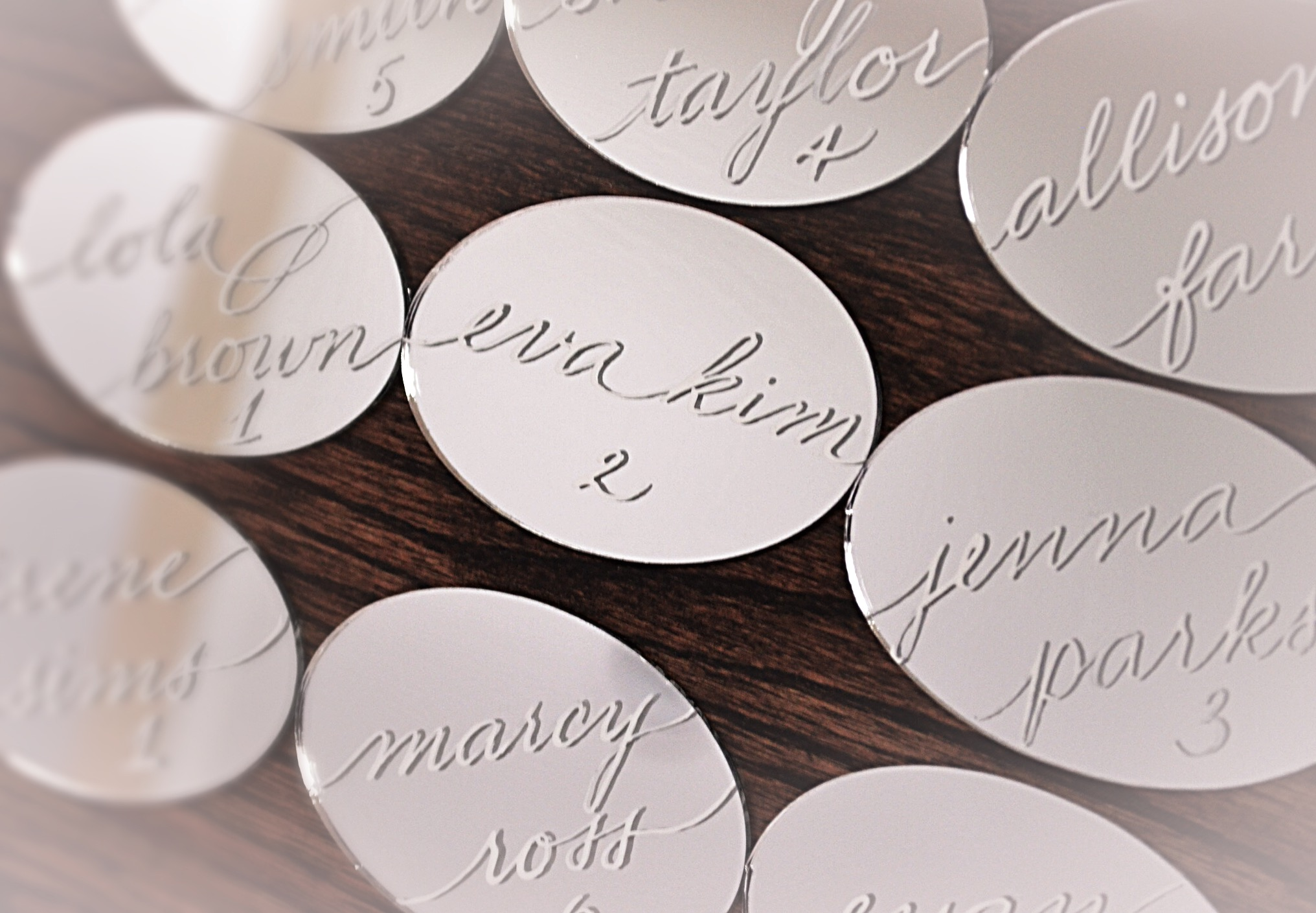 Houston Los Angeles New York Miami Mirror Calligraphy Place card Escort Card.JPG