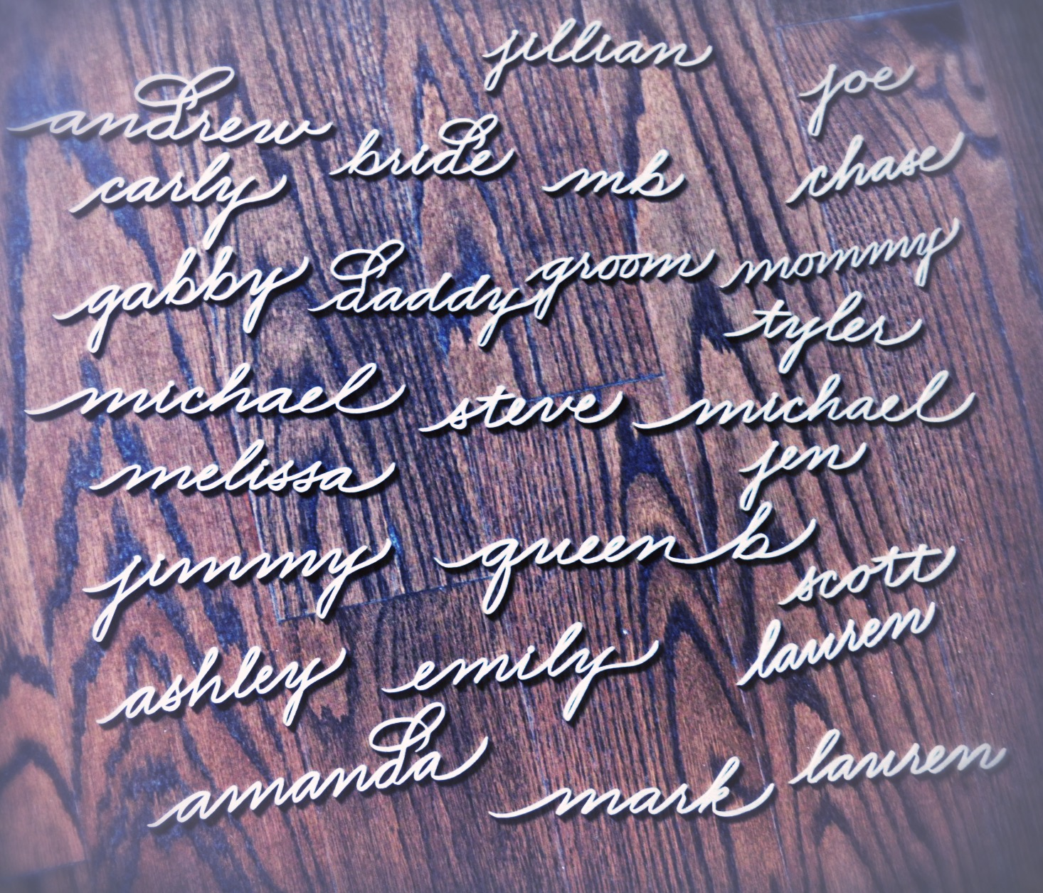 Adore Los Angeles laser cut names - los angeles calligrapher | slinging ink