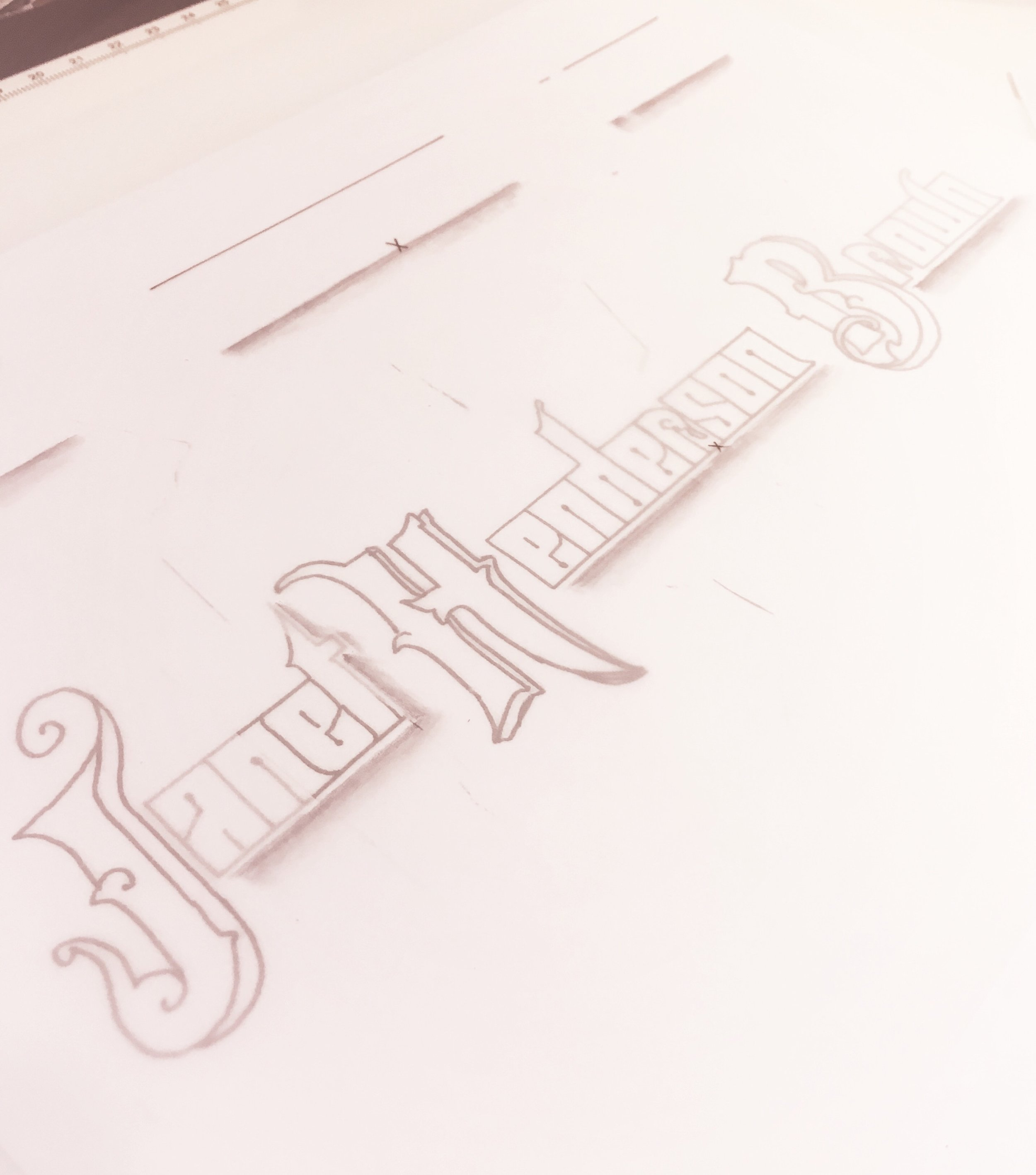 A little Sickels alphabet action for my name. Yes, I can do something that is not a cursive script, too. However, this version didn't make the final cut...