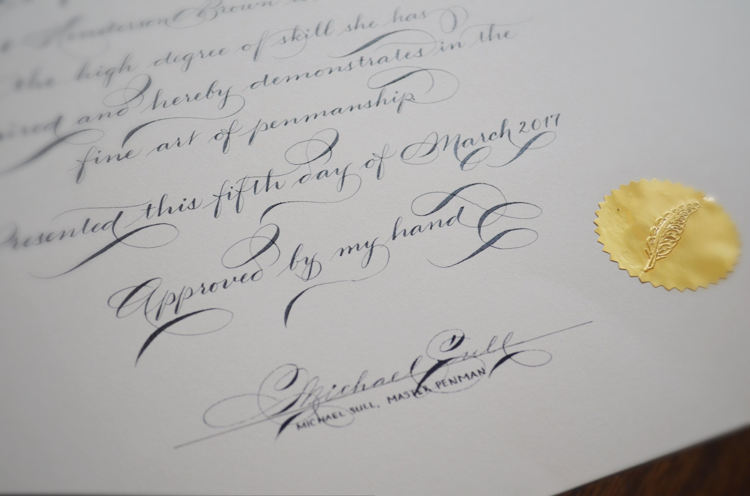The end result...  Yes, I went with a shaded Spencerian for the entire certificate......Blasphemy, you say :)
