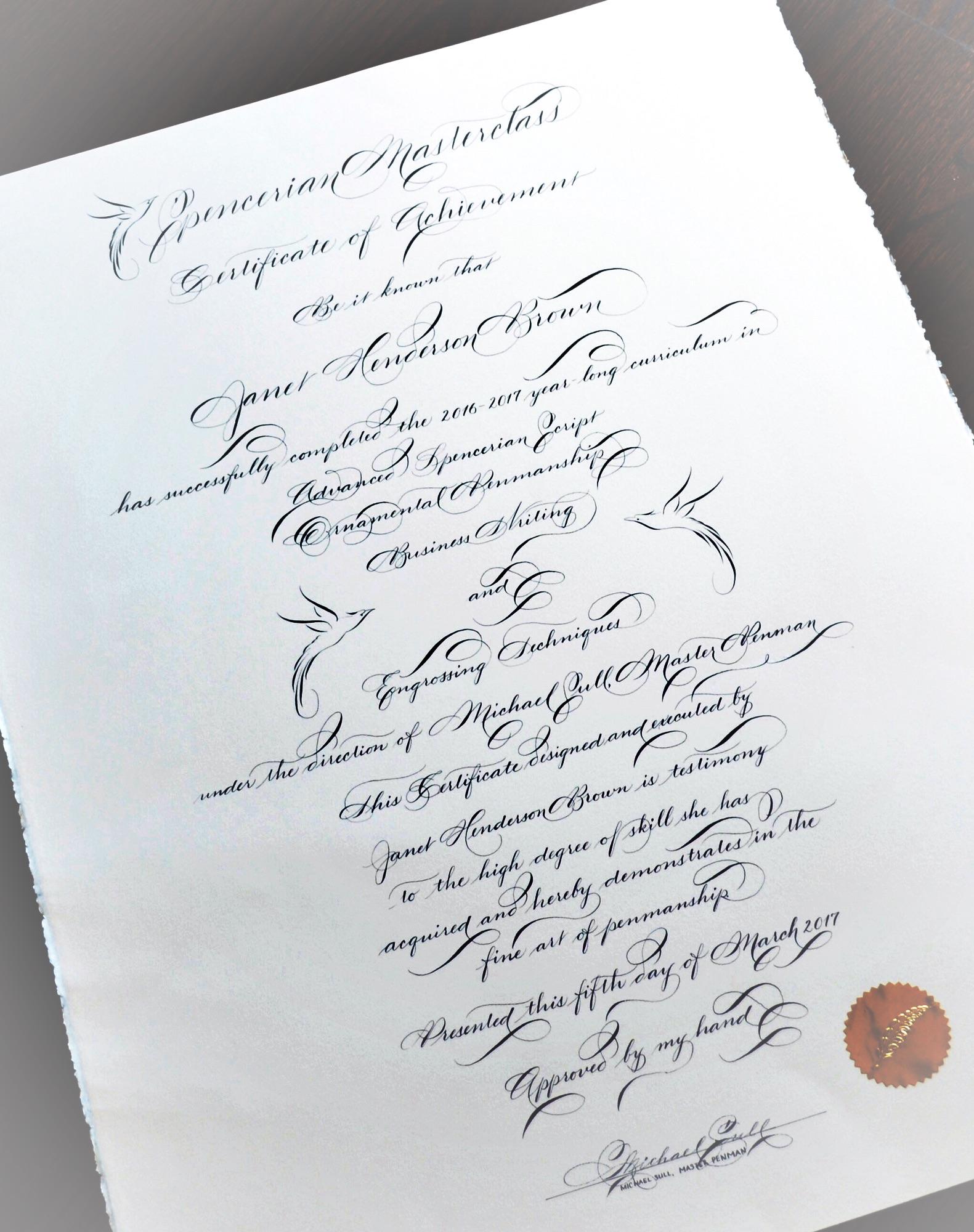 Spencerian Masterclass 2016-2017 Michael Sull Janet Brown Houston Calligrapher Penman.JPG