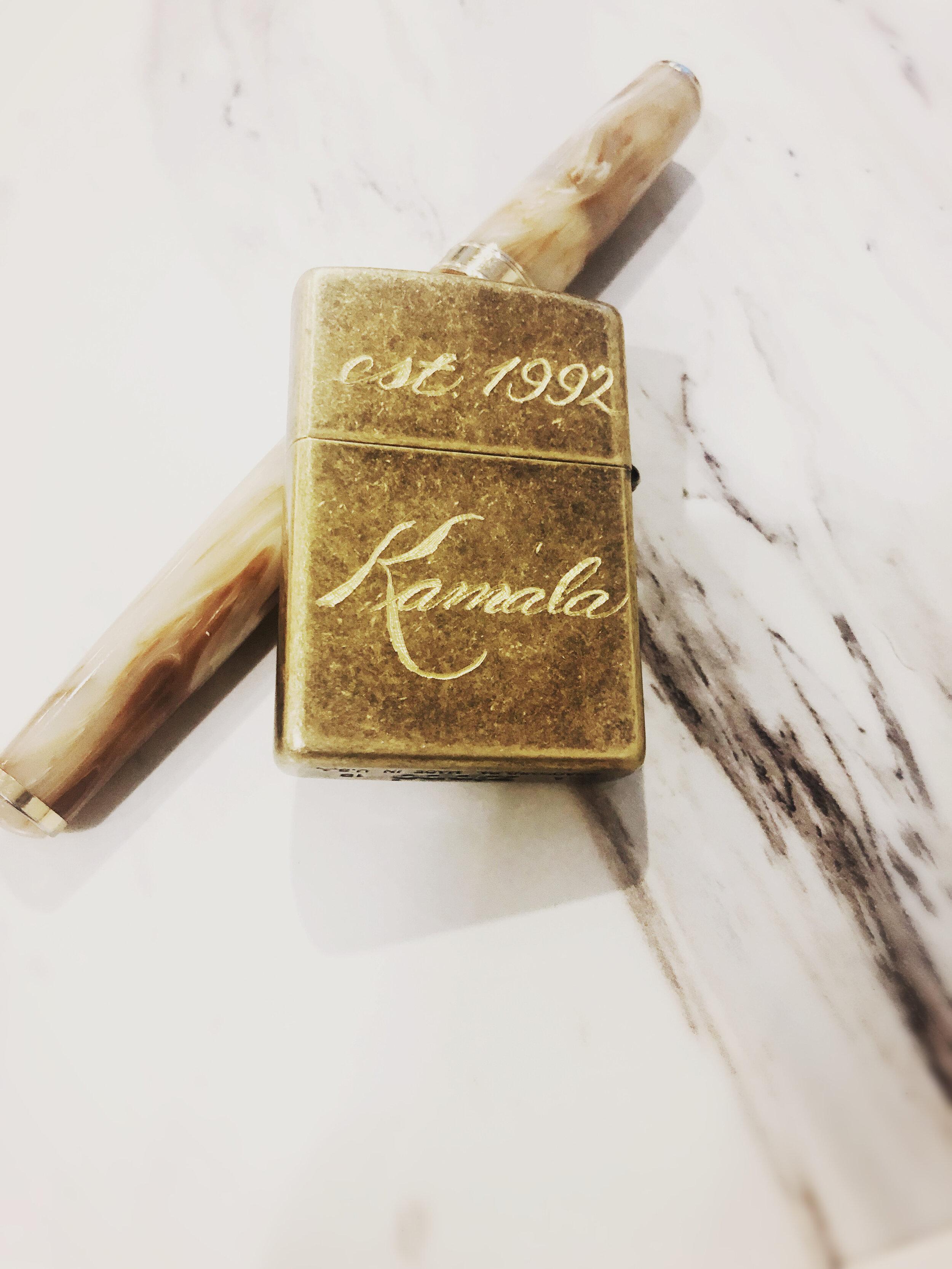 Zippo brass lighter engraving - Houston