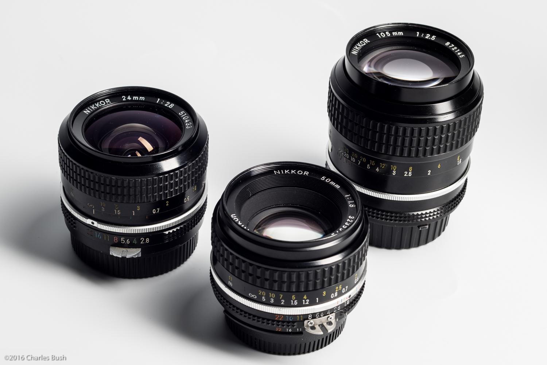 24mm, 50mm, & 105mm Nikon Manual Focus Lenses