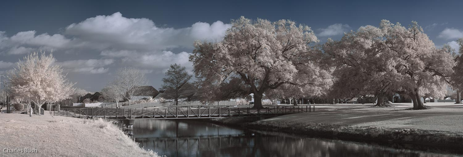 Infrared Bridge Scene near Houma Memorial Park