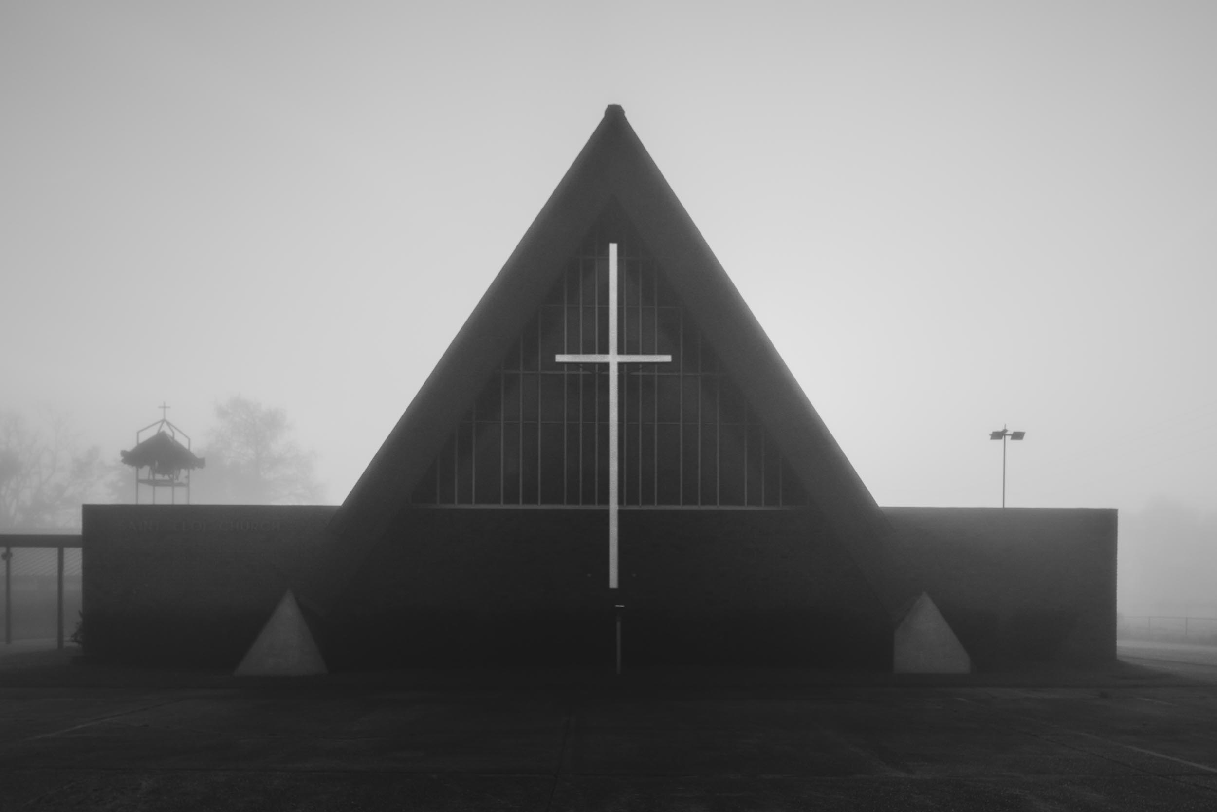 St Eloi Church Black and White in Fog–Theriot Louisiana