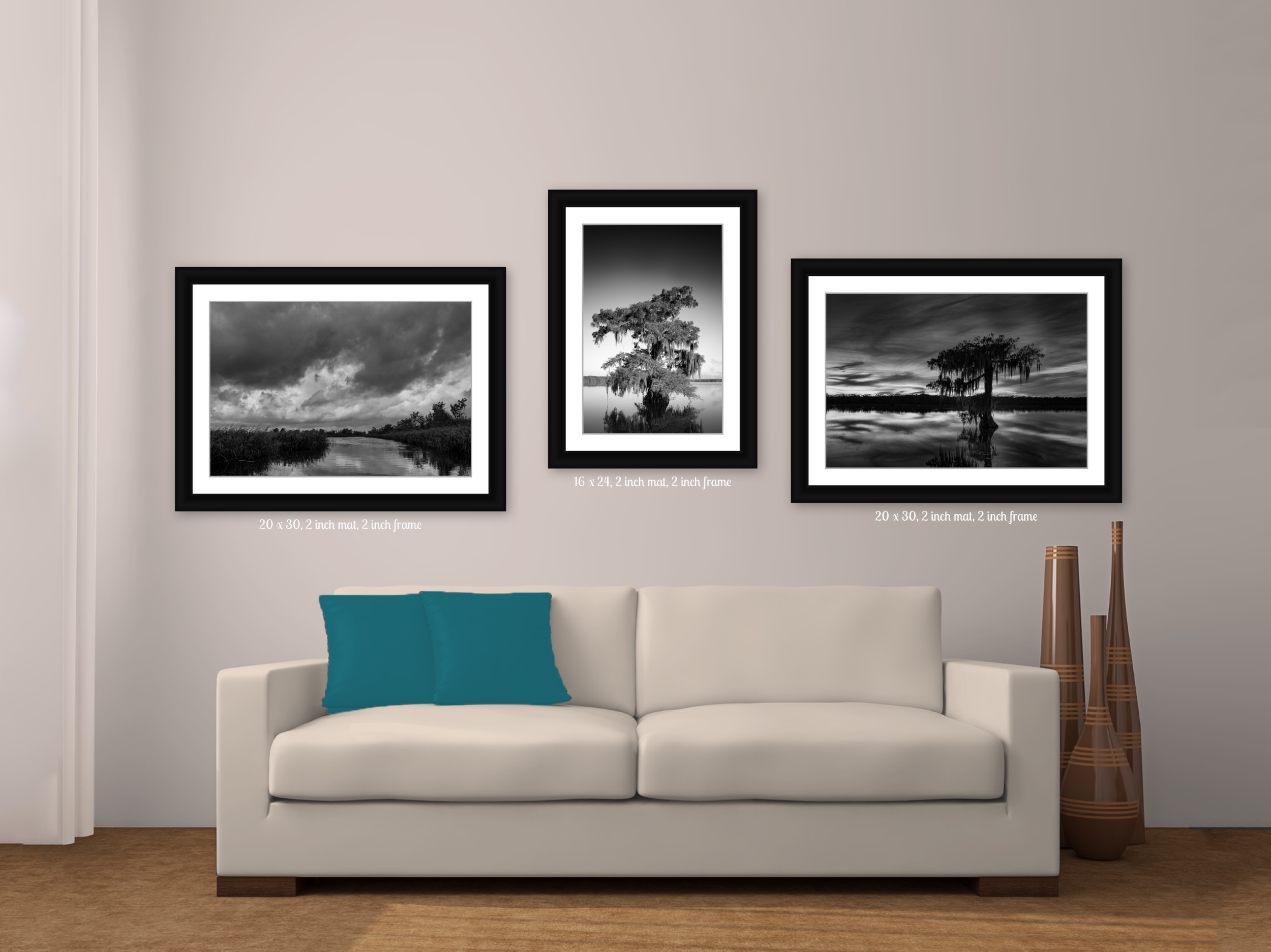 "Black and White Swamp Scenes on Living Room Wall. Two 20"" x 30"" Horizontal Images and Center 16 x 24 Vertical image in a 2"" wide Frame with Matte"