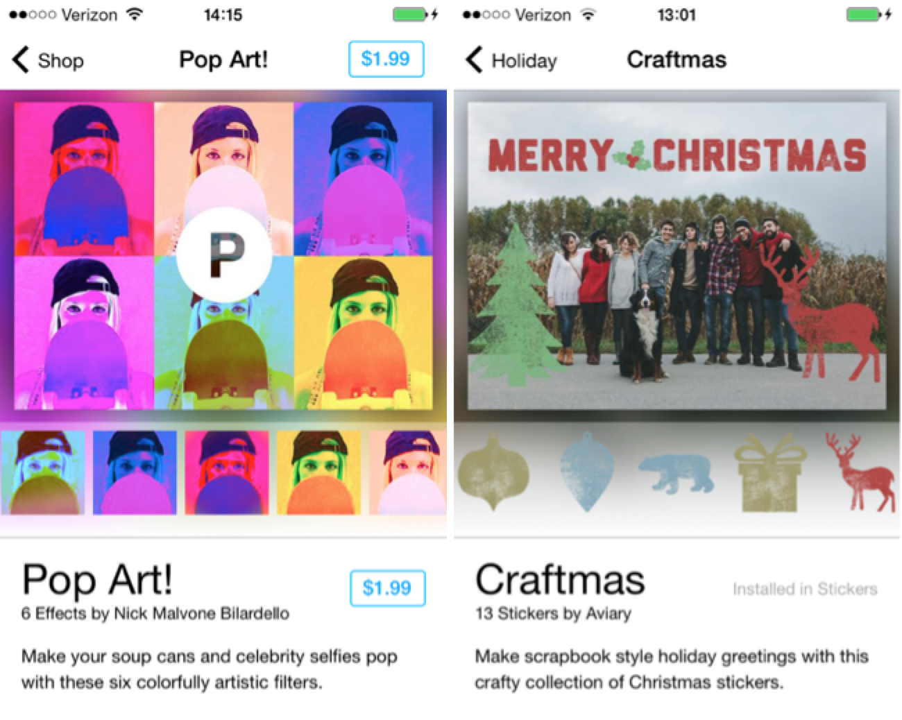 """Pop Art"" filter pack and ""Craftmas"" sticker pack, available in    Photo Editor by Aviary"