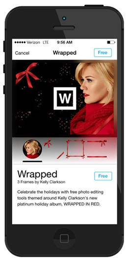 "Kelly Clarkson's ""Wrapped"" Frames, available in  Photo Editor by Aviary"