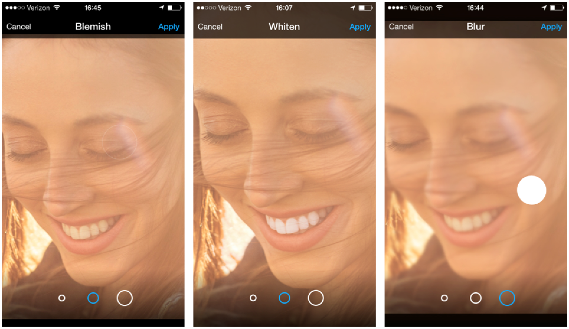 Style your selfies with our all-new blemish tool, teeth whiten tool and blur tool.