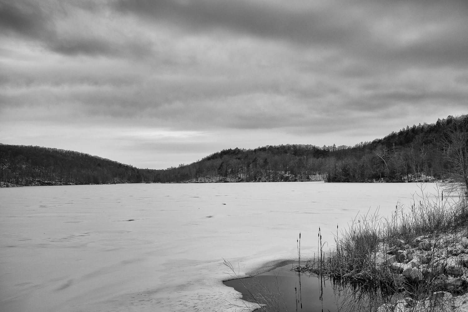 Frozen Canopus Lake near Cold Spring, New York