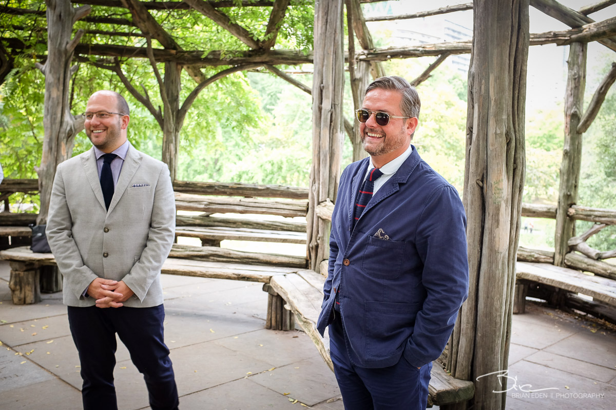 Steve and Nick's wedding took place Inside the  Cop Cot , a rustic wooden gazebo on the crest of a hill at the southeast corner of Central Park