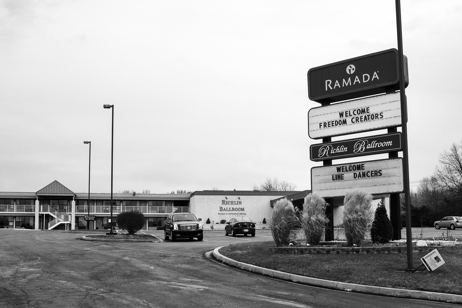 """""""Welcome Freedom Creators"""" December,2014, Edgewood, Maryland Fujifilm X100s, 23mm, f/8, 1/160, ISO 200   I took this photo just a few days ago. We were drivinghomefor the holidays andpulled off I-95 to to get gas. This hotel was next door. This is why you always carry a camera."""
