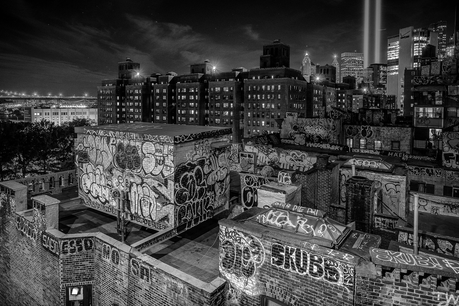 """""""Tribute in Light over Chinatown"""" September 11, 2016. New York City  Fujifilm XPro1, 14mm, f/4, 2s, ISO 200"""