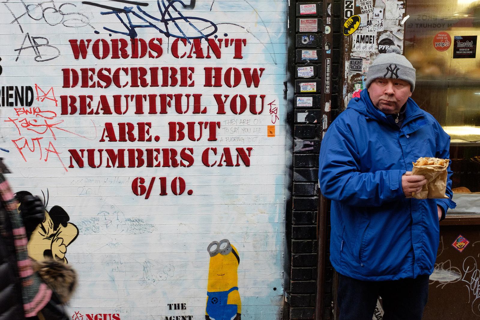 """Beautiful"" November, 2016. Brick Lane, London U.K.  Fujifilm X100s, 23mm, f/8, 1/125, ISO 2000"