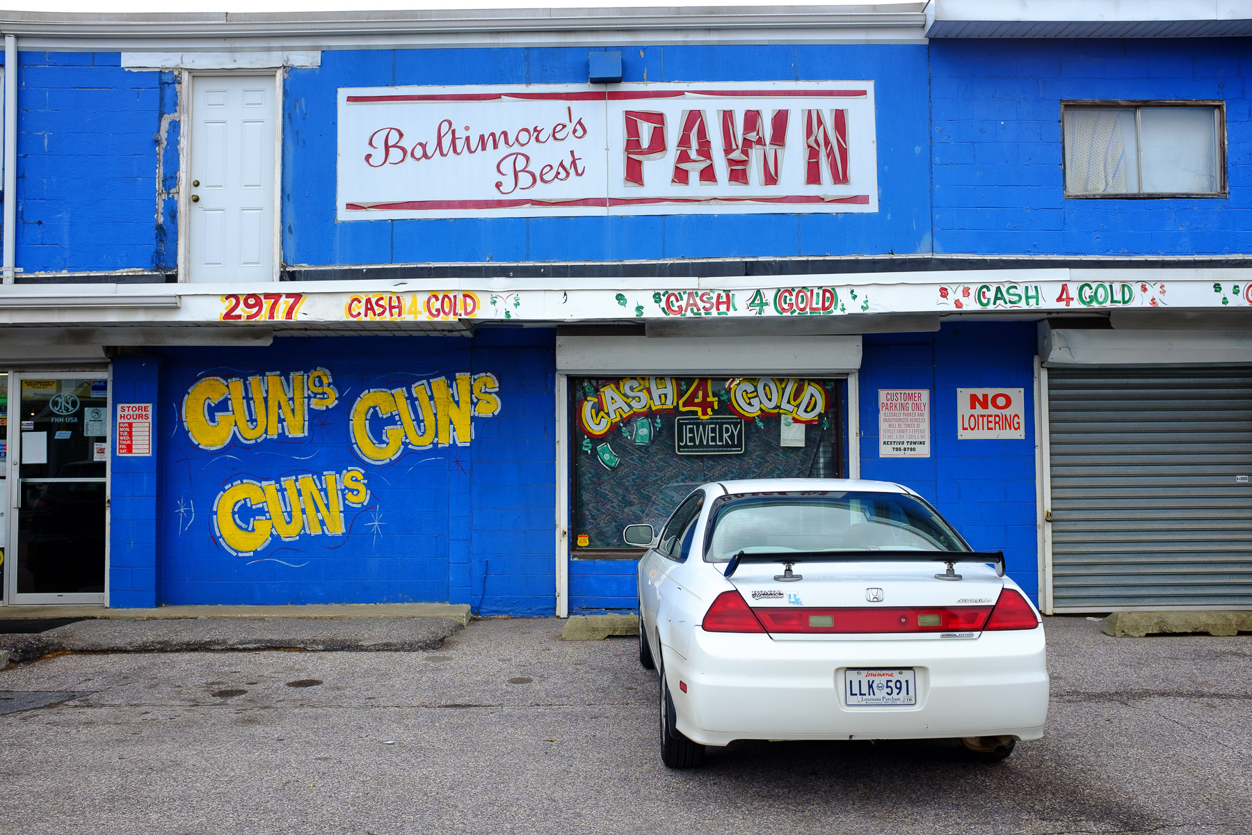 """""""Baltimore's Best Pawn"""" April, 2016. Westminster, MD  Fujifilm X100s, 23mm, f/5.6, 1/350, ISO 200"""