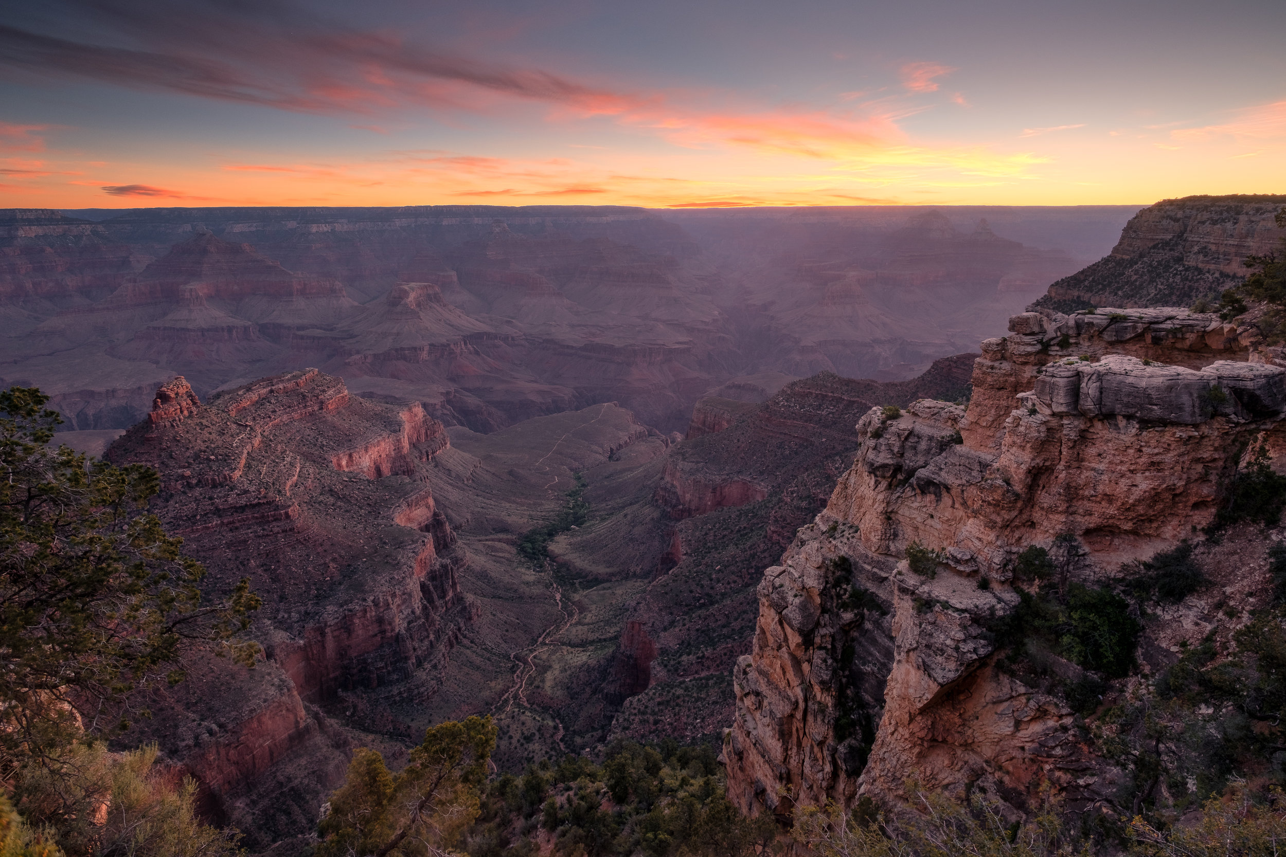 """Battleship Rock Sunrise."" June 7, 2017, Grand Canyon South Rim Fujifilm X-Pro2, 14mm, f/11, 1/3, ISO 200"