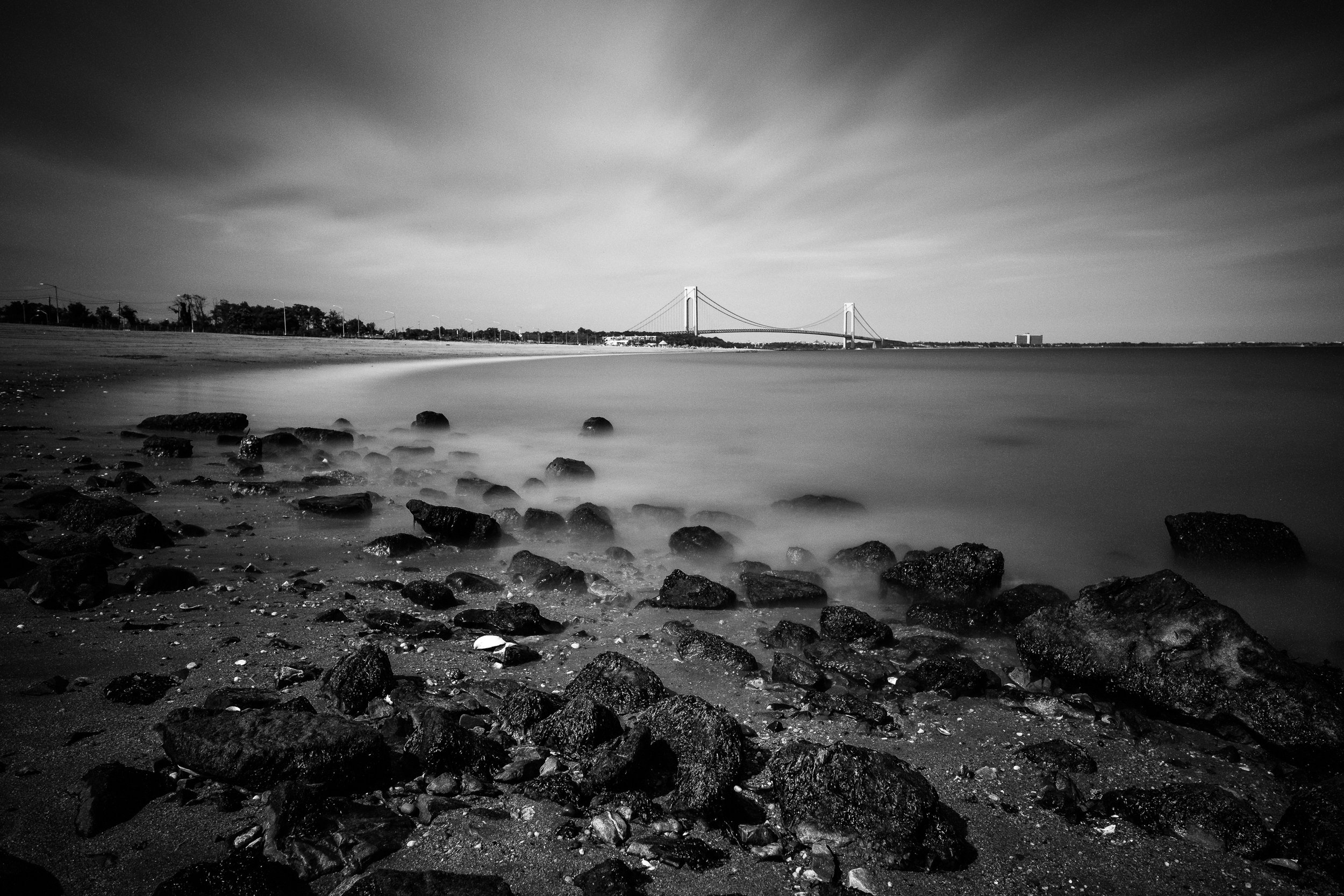 """Verrazano Bridge"" June 17, 2018. South Beach, Staten Island.  Fujifilm X Pro2, 14mm, f/8, 241 sec, ISO 200   Staten Island has incredible beaches. Who knew?"