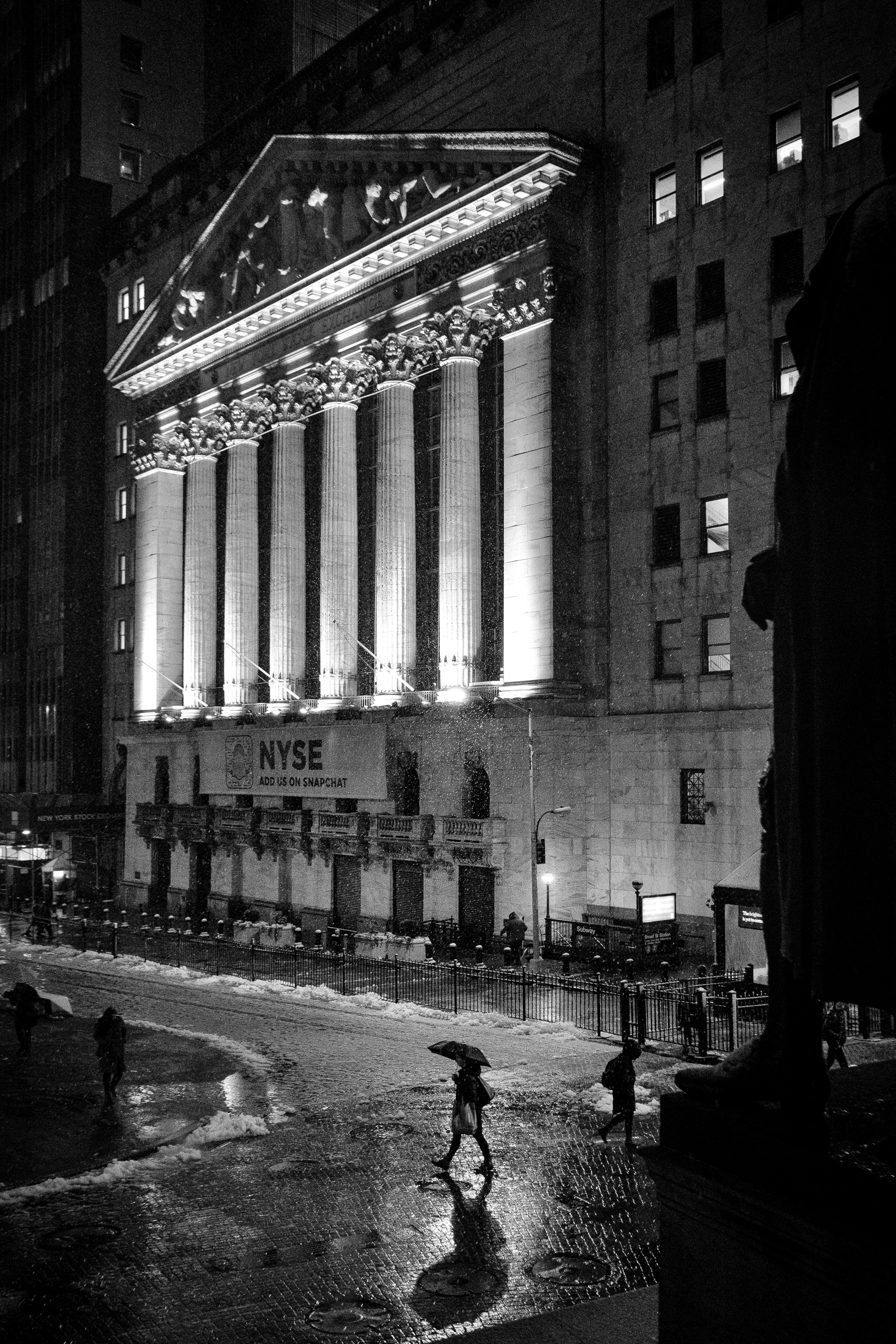 """Stock exchange snowstorm"" March 7, 2018. Wall Street, New York Fujifilm XPro2, 23mm, f/2.8, 1/125, ISO 5000"