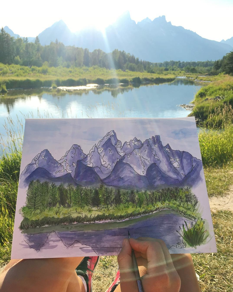 grand tetons watercolors at sunset.png