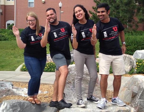 Incoming HESA students doing the Tomahawk Chop at #DLI14